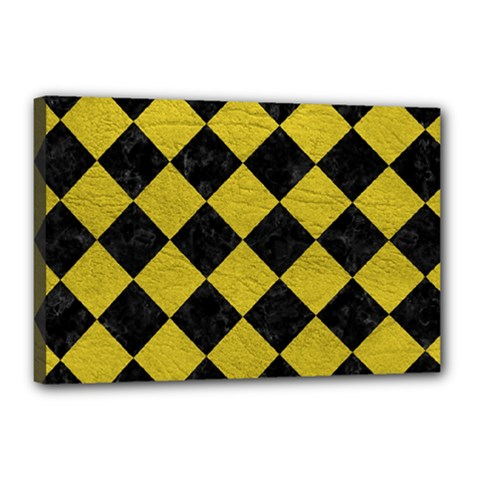 Square2 Black Marble & Yellow Leather Canvas 18  X 12  by trendistuff