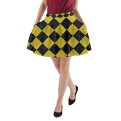 Square2 Black Marble & Yellow Leather A Line Pocket Skirt by trendistuff