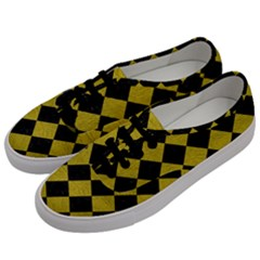 Square2 Black Marble & Yellow Leather Men s Classic Low Top Sneakers by trendistuff