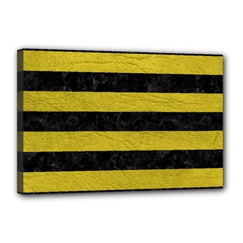 Stripes2 Black Marble & Yellow Leather Canvas 18  X 12  by trendistuff