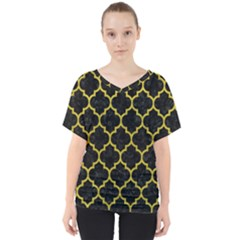 Tile1 Black Marble & Yellow Leather (r) V Neck Dolman Drape Top