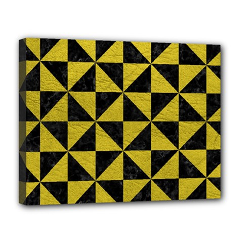 Triangle1 Black Marble & Yellow Leather Canvas 14  X 11  by trendistuff