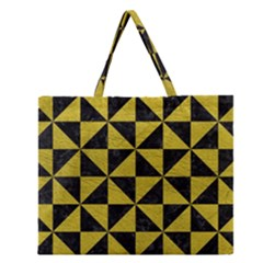 Triangle1 Black Marble & Yellow Leather Zipper Large Tote Bag by trendistuff