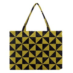 Triangle1 Black Marble & Yellow Leather Medium Tote Bag by trendistuff