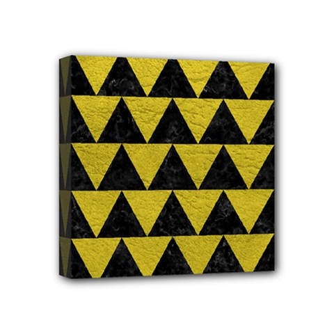 Triangle2 Black Marble & Yellow Leather Mini Canvas 4  X 4  by trendistuff