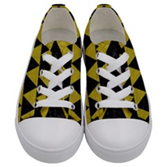 Triangle2 Black Marble & Yellow Leather Kids  Low Top Canvas Sneakers