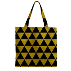 Triangle3 Black Marble & Yellow Leather Zipper Grocery Tote Bag by trendistuff