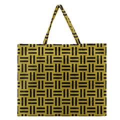 Woven1 Black Marble & Yellow Leather Zipper Large Tote Bag by trendistuff