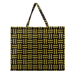 Woven1 Black Marble & Yellow Leather (r) Zipper Large Tote Bag by trendistuff