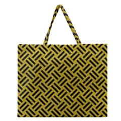 Woven2 Black Marble & Yellow Leather Zipper Large Tote Bag by trendistuff