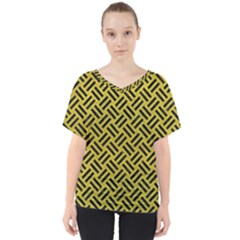 Woven2 Black Marble & Yellow Leather V Neck Dolman Drape Top