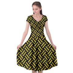 Woven2 Black Marble & Yellow Leather (r) Cap Sleeve Wrap Front Dress