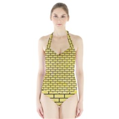 Brick1 Black Marble & Yellow Watercolor Halter Swimsuit