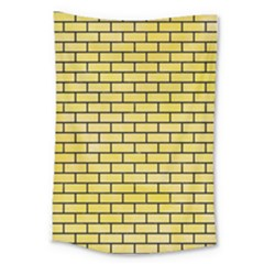 Brick1 Black Marble & Yellow Watercolor Large Tapestry by trendistuff