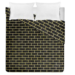 Brick1 Black Marble & Yellow Watercolor (r) Duvet Cover Double Side (queen Size) by trendistuff