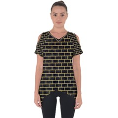 Brick1 Black Marble & Yellow Watercolor (r) Cut Out Side Drop Tee