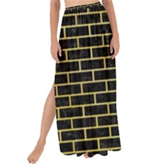 Brick1 Black Marble & Yellow Watercolor (r) Maxi Chiffon Tie Up Sarong by trendistuff