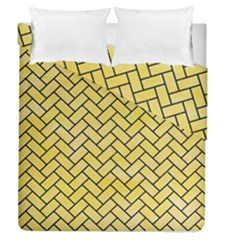 Brick2 Black Marble & Yellow Watercolor Duvet Cover Double Side (queen Size) by trendistuff