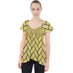 Brick2 Black Marble & Yellow Watercolor Lace Front Dolly Top