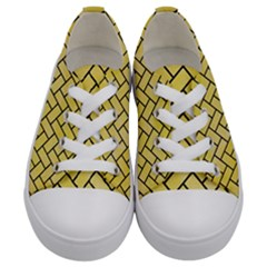 Brick2 Black Marble & Yellow Watercolor Kids  Low Top Canvas Sneakers