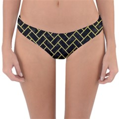 Brick2 Black Marble & Yellow Watercolor (r) Reversible Hipster Bikini Bottoms by trendistuff