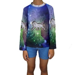 Wonderful Lion Silhouette On Dark Colorful Background Kids  Long Sleeve Swimwear by FantasyWorld7