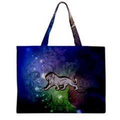 Wonderful Lion Silhouette On Dark Colorful Background Mini Tote Bag by FantasyWorld7