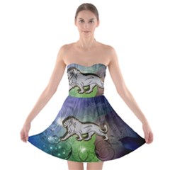 Wonderful Lion Silhouette On Dark Colorful Background Strapless Bra Top Dress by FantasyWorld7