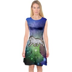 Wonderful Lion Silhouette On Dark Colorful Background Capsleeve Midi Dress by FantasyWorld7