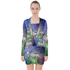 Wonderful Lion Silhouette On Dark Colorful Background V Neck Bodycon Long Sleeve Dress by FantasyWorld7