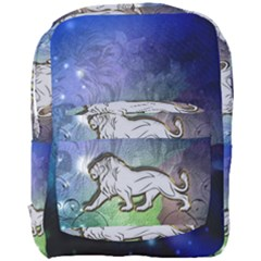 Wonderful Lion Silhouette On Dark Colorful Background Full Print Backpack
