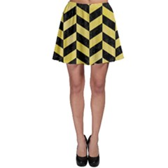 Chevron1 Black Marble & Yellow Watercolor Skater Skirt by trendistuff