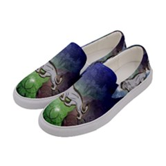 Wonderful Lion Silhouette On Dark Colorful Background Women s Canvas Slip Ons by FantasyWorld7