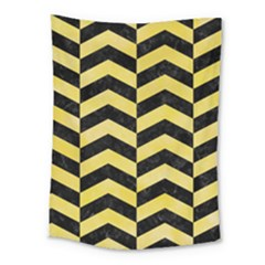 Chevron2 Black Marble & Yellow Watercolor Medium Tapestry