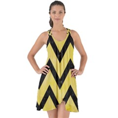 Chevron9 Black Marble & Yellow Watercolor Show Some Back Chiffon Dress by trendistuff