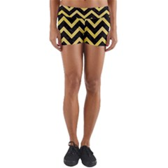 Chevron9 Black Marble & Yellow Watercolor (r) Yoga Shorts by trendistuff