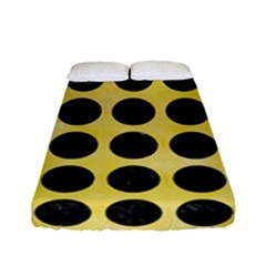 Circles1 Black Marble & Yellow Watercolor Fitted Sheet (full/ Double Size) by trendistuff