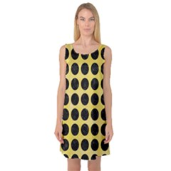 Circles1 Black Marble & Yellow Watercolor Sleeveless Satin Nightdress by trendistuff