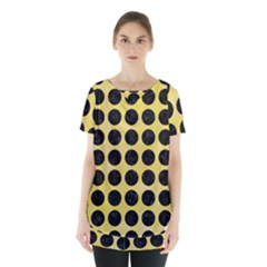 Circles1 Black Marble & Yellow Watercolor Skirt Hem Sports Top
