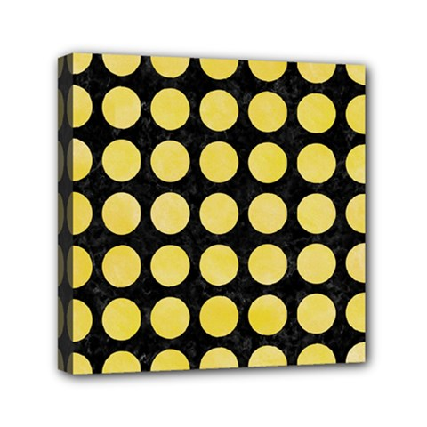 Circles1 Black Marble & Yellow Watercolor (r) Mini Canvas 6  X 6