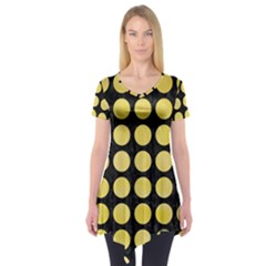 Circles1 Black Marble & Yellow Watercolor (r) Short Sleeve Tunic