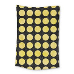 Circles1 Black Marble & Yellow Watercolor (r) Small Tapestry by trendistuff