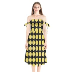 Circles1 Black Marble & Yellow Watercolor (r) Shoulder Tie Bardot Midi Dress by trendistuff