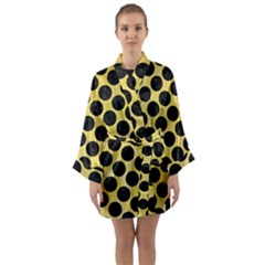 Circles2 Black Marble & Yellow Watercolor Long Sleeve Kimono Robe