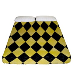 Diamond1 Black Marble & Yellow Watercolor Fitted Sheet (king Size) by trendistuff
