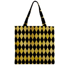 Diamond1 Black Marble & Yellow Watercolor Zipper Grocery Tote Bag by trendistuff