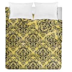 Damask1 Black Marble & Yellow Watercolor Duvet Cover Double Side (queen Size) by trendistuff