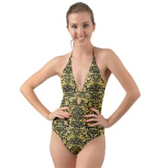 Damask2 Black Marble & Yellow Watercolor Halter Cut Out One Piece Swimsuit