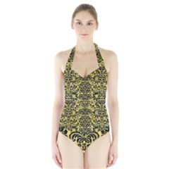 Damask2 Black Marble & Yellow Watercolor Halter Swimsuit