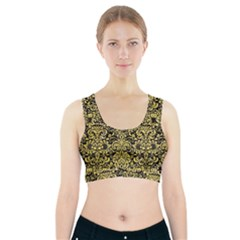 Damask2 Black Marble & Yellow Watercolor (r) Sports Bra With Pocket